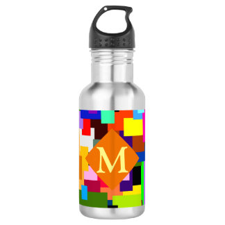 Colorful Patchwork Layers Modern Abstract Monogram 532 Ml Water Bottle