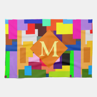 Colorful Patchwork Layers Modern Abstract Monogram Kitchen Towels