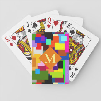 Colorful Patchwork Layers Modern Abstract Monogram Playing Cards