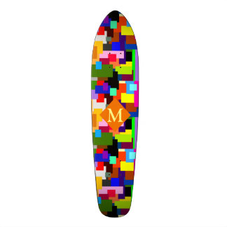 Colorful Patchwork Layers Modern Abstract Monogram Skate Board Deck