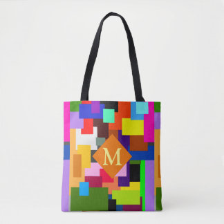 Colorful Patchwork Layers Modern Abstract Monogram Tote Bag