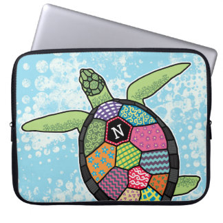 Colorful Patchwork Pattern Monogram Sea Turtle Laptop Sleeve