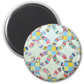 Colorful patchwork quilt 2 inch round magnet