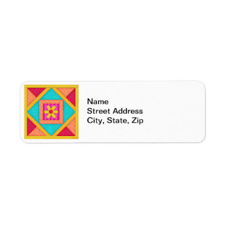 Colorful Patchwork Quilt Art Block Return Address Label