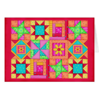 Colorful Patchwork Quilt Art Stationery Card