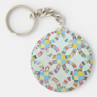 Colorful patchwork quilt basic round button keychain