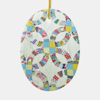 Colorful patchwork quilt ceramic oval ornament