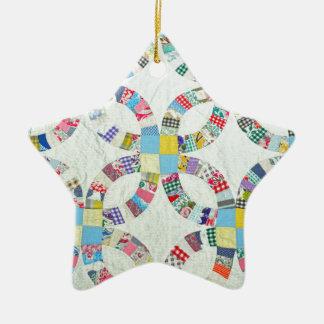 Colorful patchwork quilt ceramic star ornament
