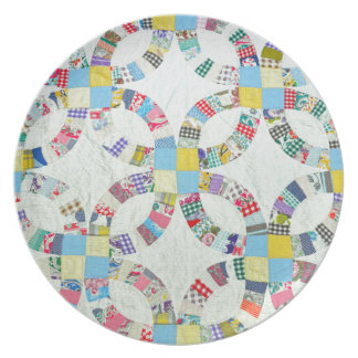 Colorful patchwork quilt dinner plate
