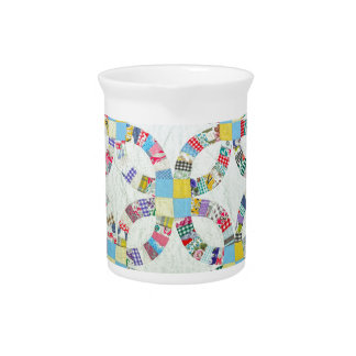 Colorful patchwork quilt drink pitchers