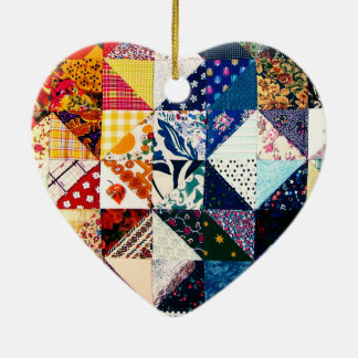Colorful Patchwork Quilt Heart Ceramic Ornament