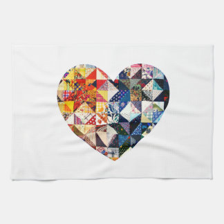 Colorful Patchwork Quilt Heart Kitchen Towel