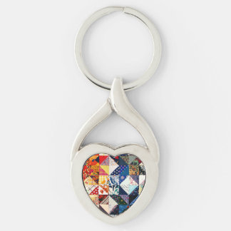 Colorful Patchwork Quilt Heart Silver-Colored Twisted Heart Keychain