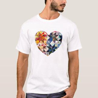 Colorful Patchwork Quilt Heart T-Shirt