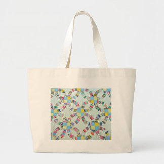 Colorful patchwork quilt large tote bag