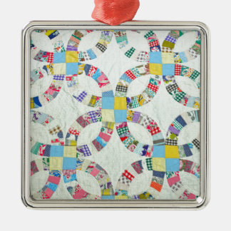 Colorful patchwork quilt Silver-Colored square ornament