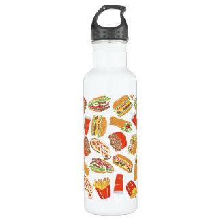 Colorful Pattern Illustration Fast Food 710 Ml Water Bottle
