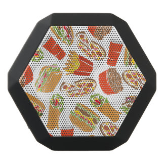 Colorful Pattern Illustration Fast Food Black Bluetooth Speaker
