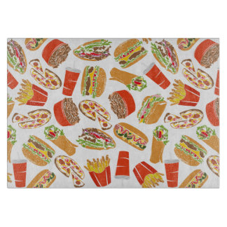 Colorful Pattern Illustration Fast Food Boards