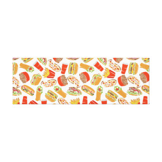 Colorful Pattern Illustration Fast Food Canvas Print