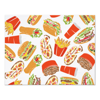 Colorful Pattern Illustration Fast Food Card