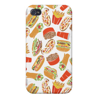 Colorful Pattern Illustration Fast Food Case For iPhone 4