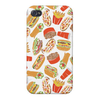 Colorful Pattern Illustration Fast Food Case For The iPhone 4