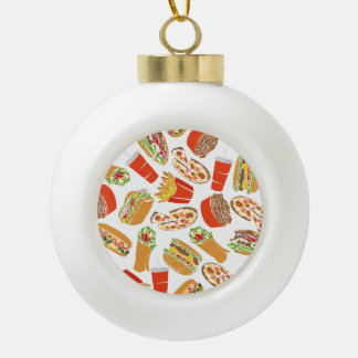 Colorful Pattern Illustration Fast Food Ceramic Ball Christmas Ornament