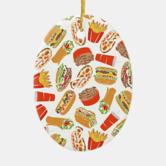 Colorful Pattern Illustration Fast Food Ceramic Ornament