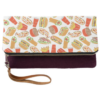 Colorful Pattern Illustration Fast Food Clutch