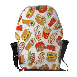 Colorful Pattern Illustration Fast Food Commuter Bags