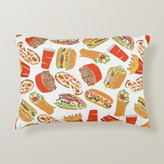 Colorful Pattern Illustration Fast Food Decorative Pillow