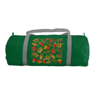 Colorful Pattern Illustration Fast Food Gym Bag