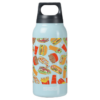 Colorful Pattern Illustration Fast Food Insulated Water Bottle