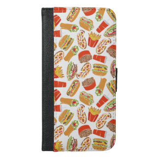Colorful Pattern Illustration Fast Food iPhone 6/6s Plus Wallet Case