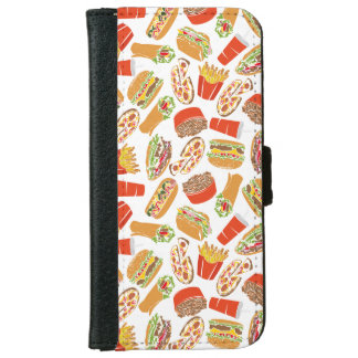 Colorful Pattern Illustration Fast Food iPhone 6 Wallet Case