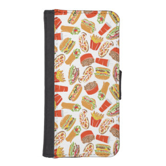 Colorful Pattern Illustration Fast Food iPhone SE/5/5s Wallet Case