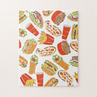 Colorful Pattern Illustration Fast Food Jigsaw Puzzle