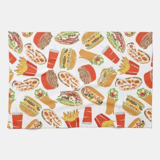 Colorful Pattern Illustration Fast Food Kitchen Towel