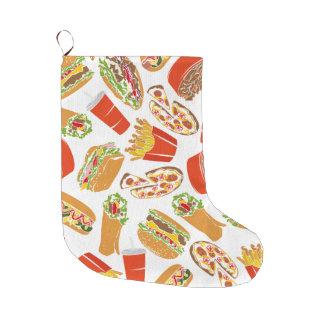 Colorful Pattern Illustration Fast Food Large Christmas Stocking