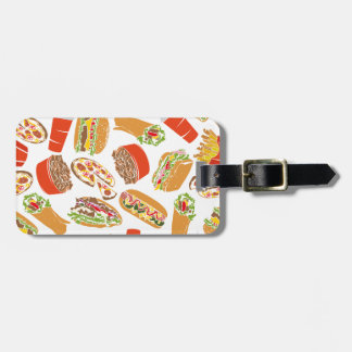 Colorful Pattern Illustration Fast Food Luggage Tag