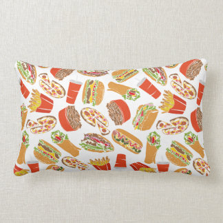 Colorful Pattern Illustration Fast Food Lumbar Pillow