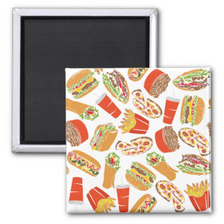 Colorful Pattern Illustration Fast Food Magnet