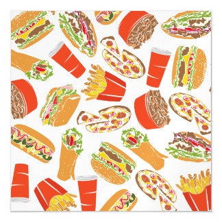 Colorful Pattern Illustration Fast Food Magnetic Card