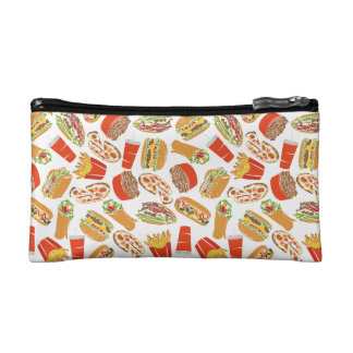 Colorful Pattern Illustration Fast Food Makeup Bag
