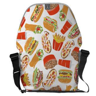 Colorful Pattern Illustration Fast Food Messenger Bag