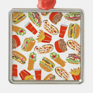 Colorful Pattern Illustration Fast Food Metal Ornament