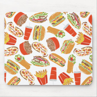 Colorful Pattern Illustration Fast Food Mouse Pad