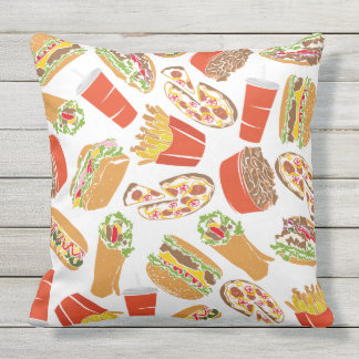 Colorful Pattern Illustration Fast Food Outdoor Pillow