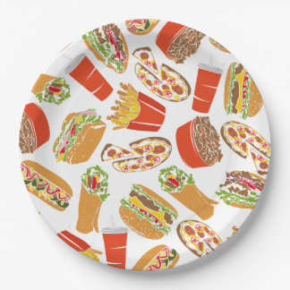 Colorful Pattern Illustration Fast Food Paper Plate